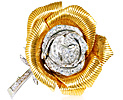 Diamantbrosche im Art deco Stil mit 57 Diamanten in 585 Weissgold