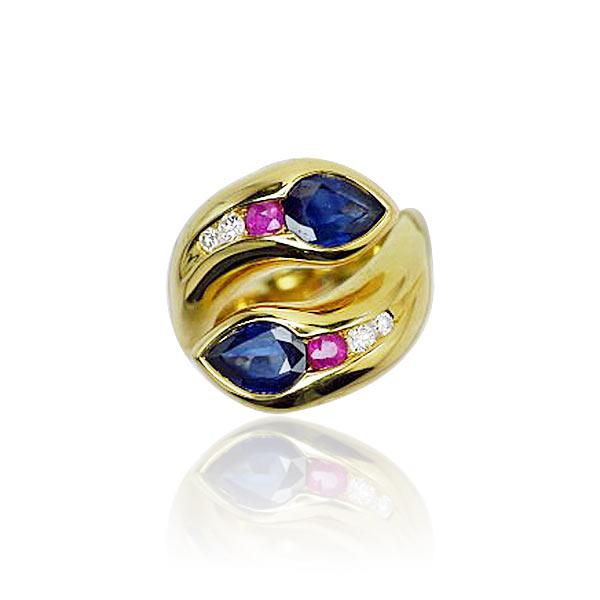 ... Ring mit Diamanten, Rubinen und 3,139ct Safiren in 750 Gold  Schmuck