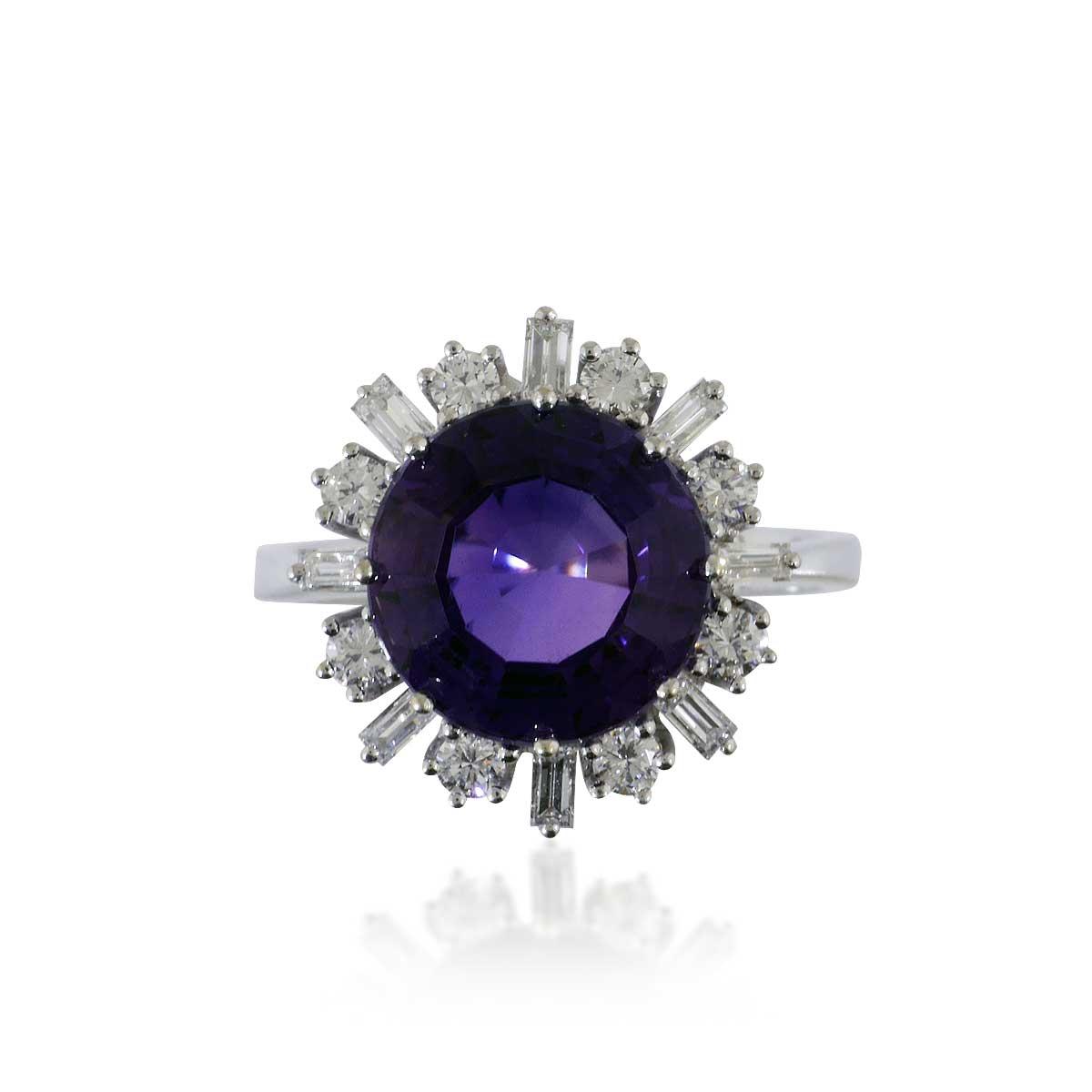 amethyst diamant ring mit 0 90ct diamanten und einem. Black Bedroom Furniture Sets. Home Design Ideas