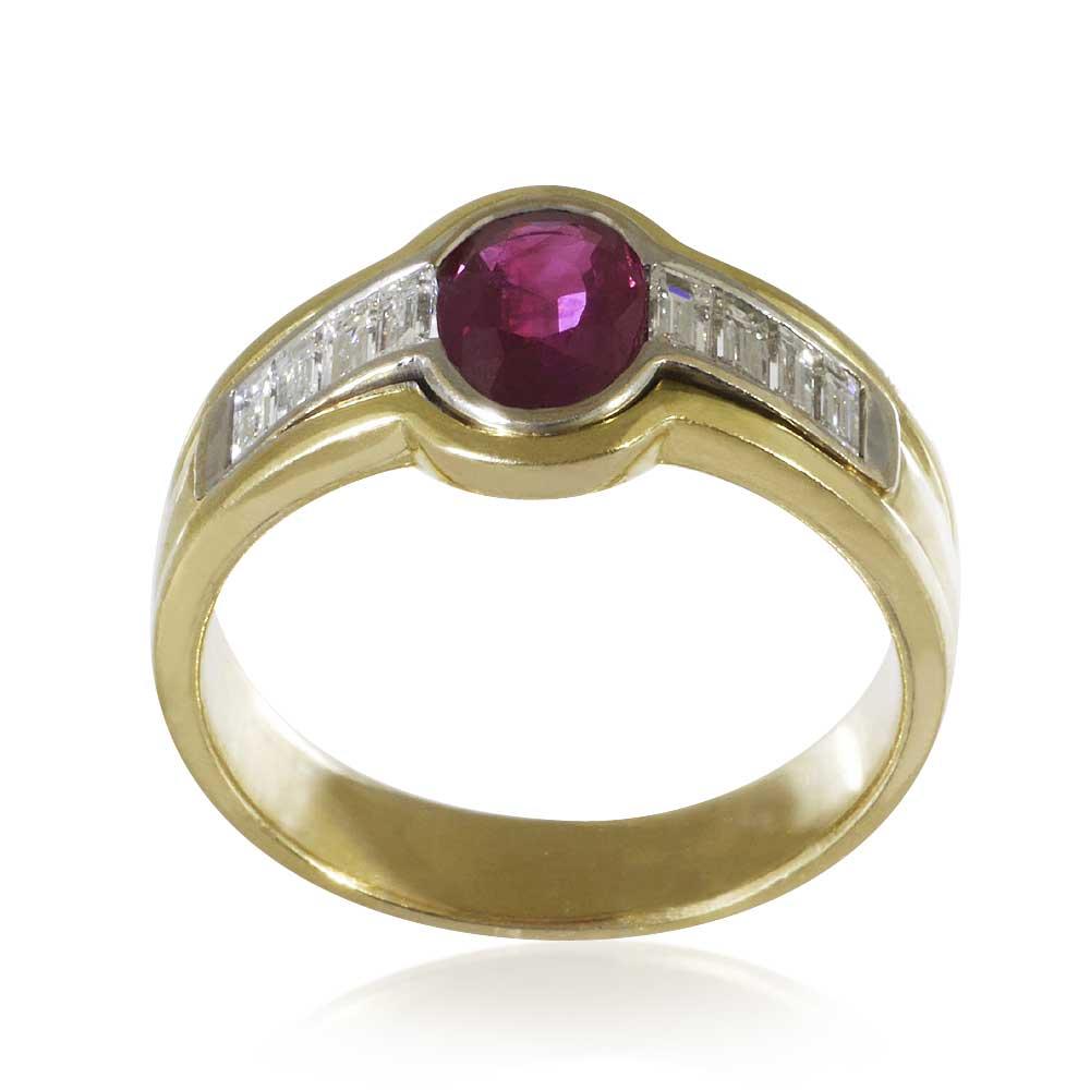 rubin diamant ring mit 1 16ct rubin und 0 31ct diamantbaguettes in 750 gold schmuck. Black Bedroom Furniture Sets. Home Design Ideas