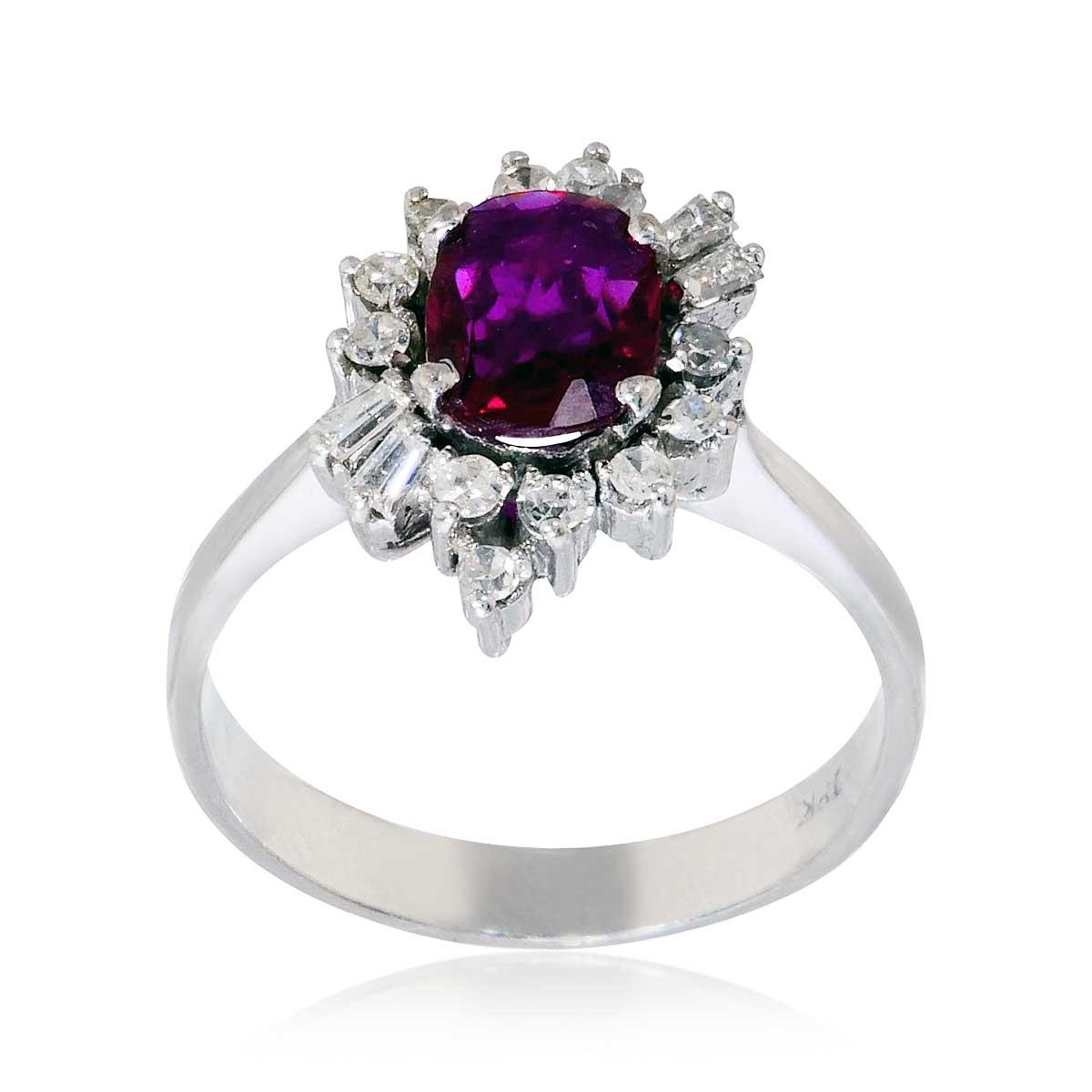 rubin diamant wei goldring mit 0 31ct diamanten und einem 0 95ct rubin schmuck. Black Bedroom Furniture Sets. Home Design Ideas