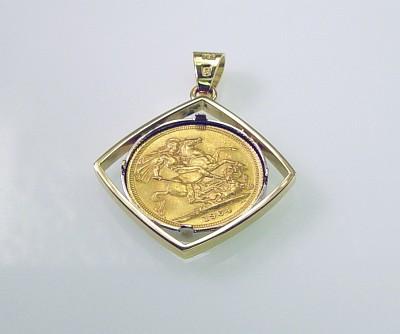 Anhänger Gold 18 Kt Mit Gold Münze Königin Elisabeth Ii Von England